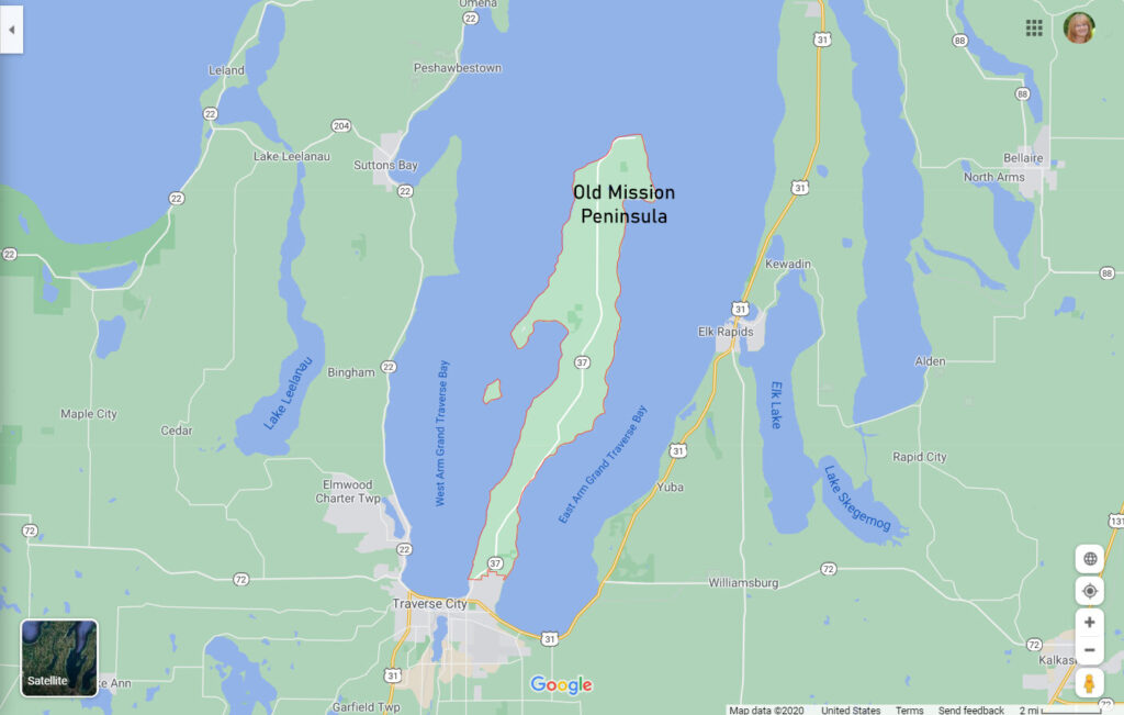 Old Mission Peninsula Map